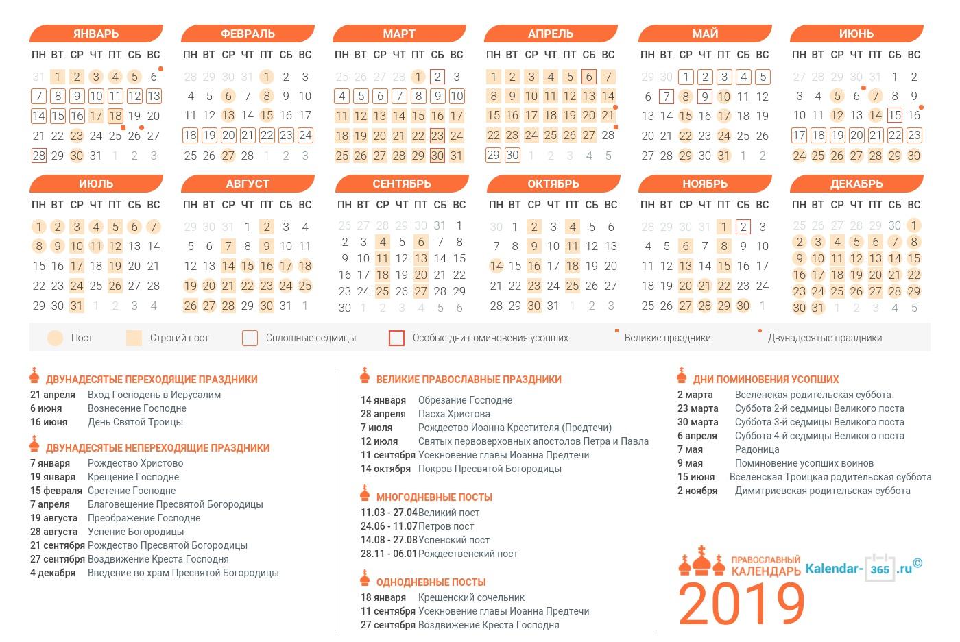 Церковный православный календарь на октябрь 2019 года